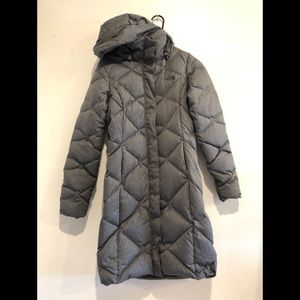 North Face Quilted Down Long Grey Jacket XS